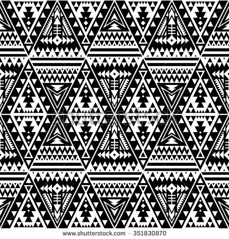 Black And White Color Tribal Navajo Seamless Pattern With Triangles Aztec Fancy Abstract Geometric Art