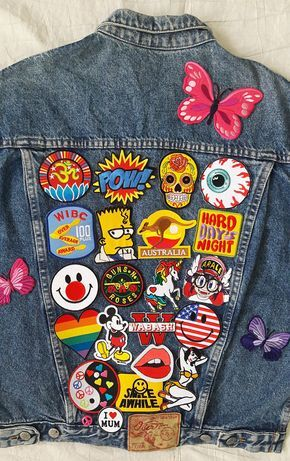Patched Denim / Patch Jean Jacket / Upcycled Custom Jacket / Reworked Vintage Jean Jacket with Patches Men Size L Unisex Adult