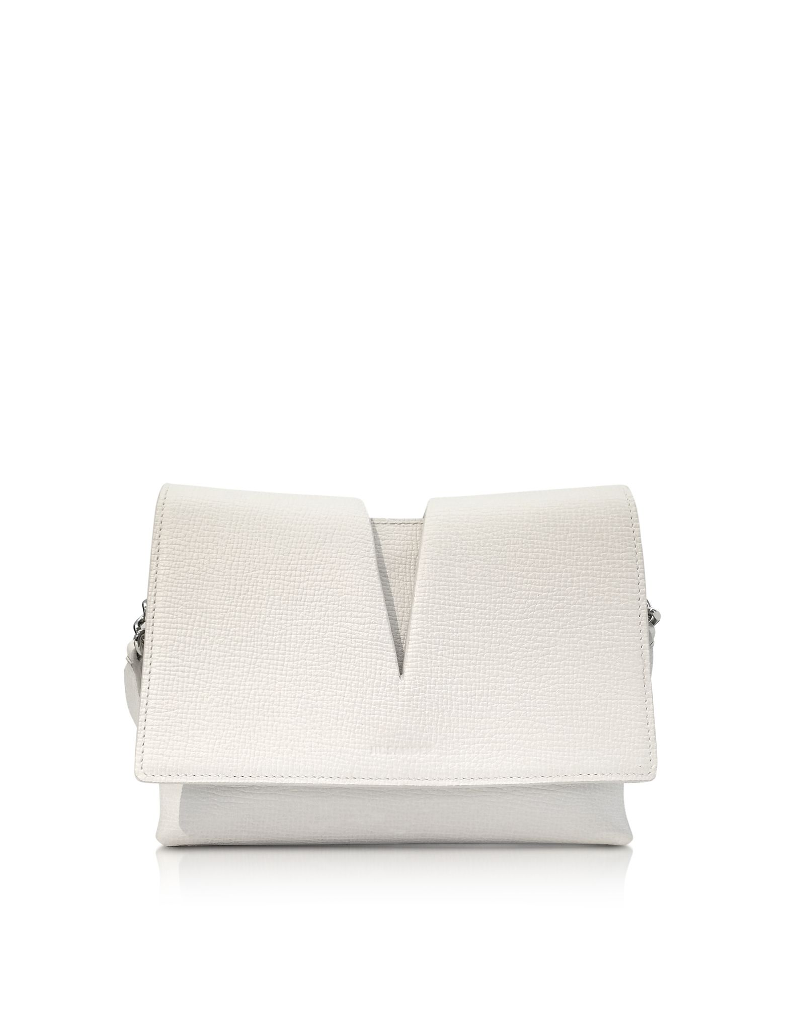 e31a1b2cb6 Jil Sander View Small White Leather Shoulder Bag at FORZIERI