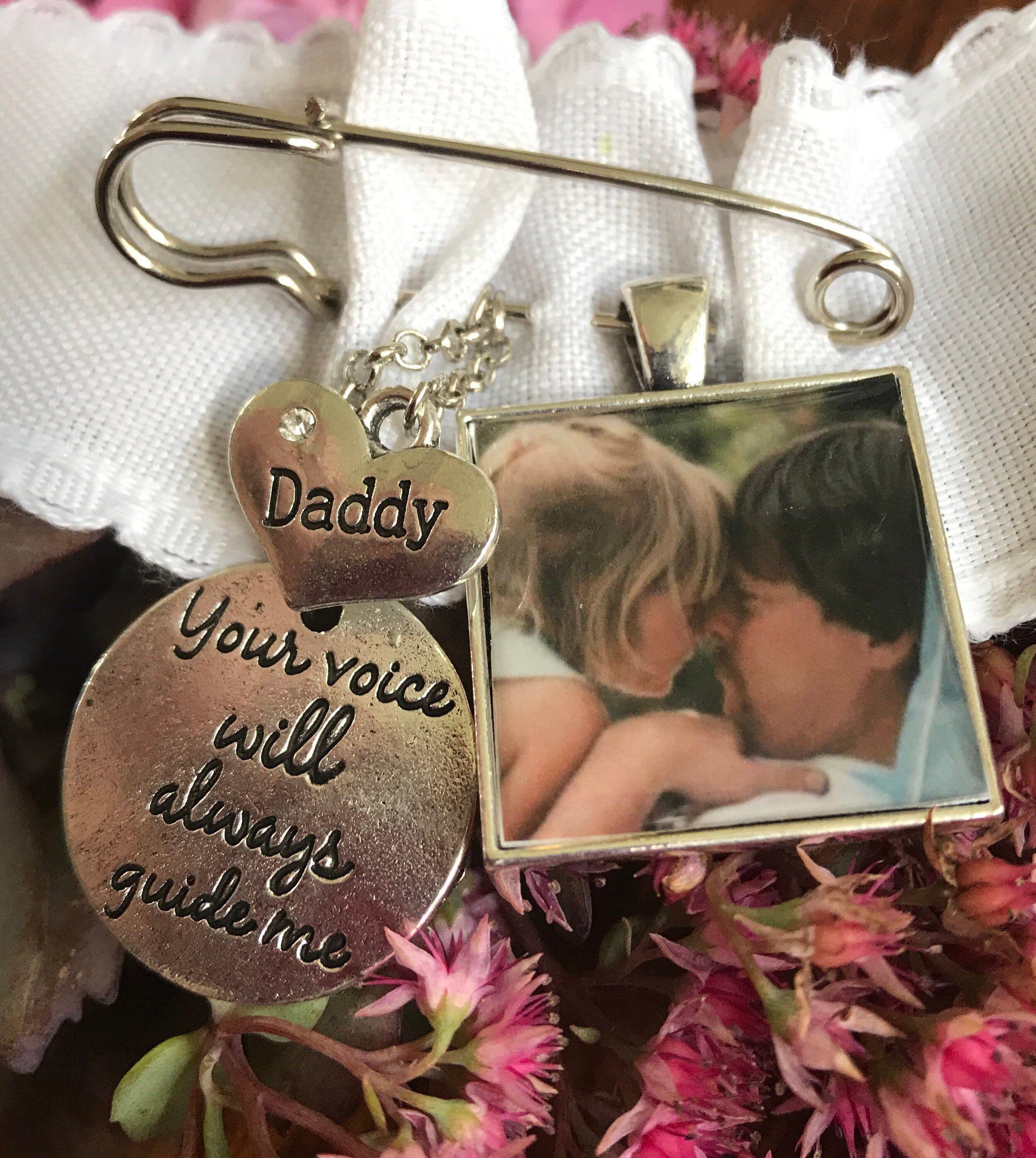 Custom made memorial photo chrms for wedding bouquet or