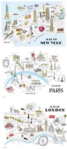 hand drawn maps nyc london paris i like thinking about