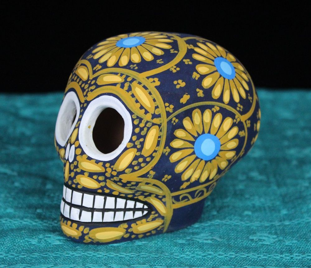 Da de los muertos day of the dead mask by cecilyrush on etsy blue gold clay sugar skull hand mademexico day of the dead dias de los muertos dailygadgetfo Choice Image