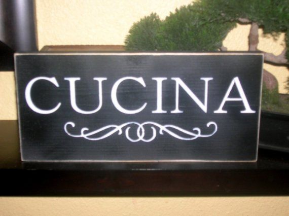 Cucina Wood Sign Wall Hanging Italian word for Kitchen via ...