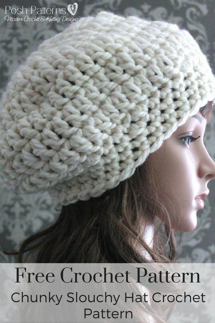 Chunky Slouchy Hat Crochet Pattern | Diy häkeln und Häkeln