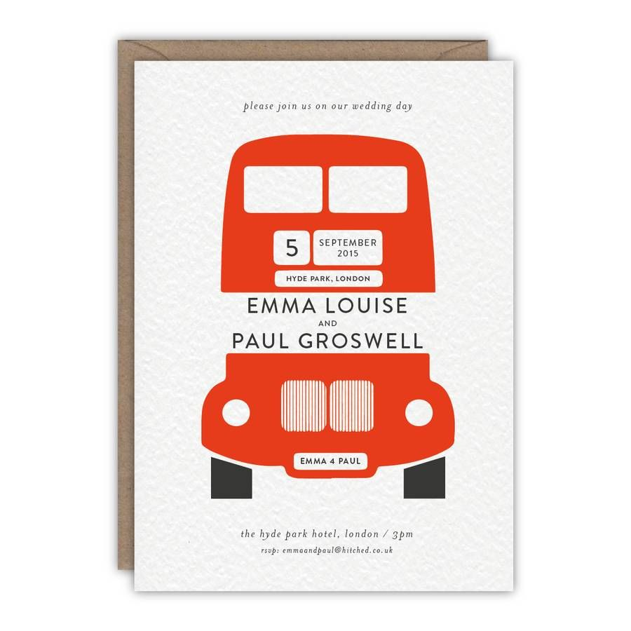 London Bus Personalised Wedding Invitations | London bus, Weddings ...