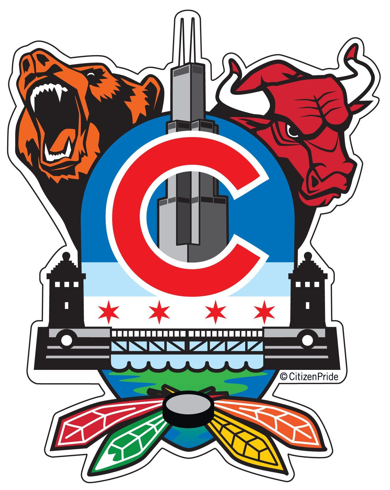 New Chicago Sports Fan Crest Sticker 4x5 In 2020 Chicago Sports Large Decal Sports Decals [ 1652 x 1314 Pixel ]