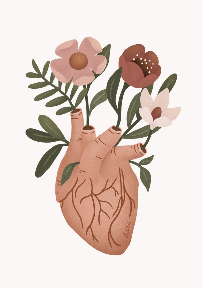 Heart with Flowers Art Print by Lebrii
