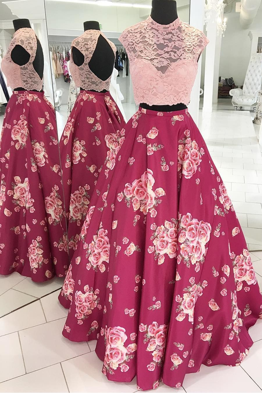 Floral Prom Dress, 2018 Two Piece Long Prom Dress, Pink Floral Long ...
