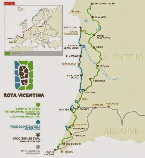 The Rota Vicentina Portugal Hiking Trails Portugal Pinterest - Portugal hiking map