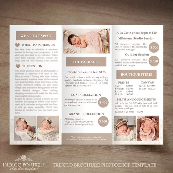 newborn photography trifold brochure template client welcome guide
