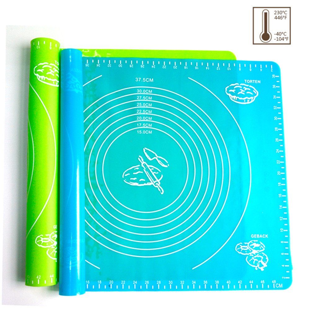 Xixihaha Silicone Baking Mat Pastry Rolling with Measurements 15.7X19.7 Reusable Non-Stick Silicone Baking Mat Set of 2(Blue/&Green