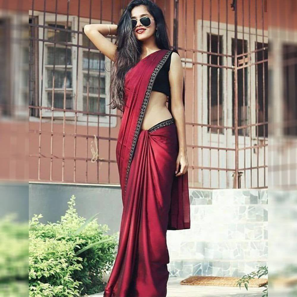 Maroon Colore Bollywood Style Designer saree party wear