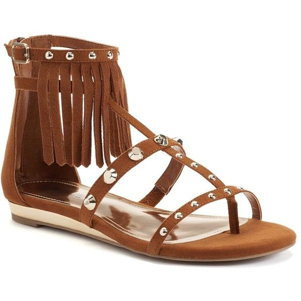Jennifer Lopez Women's Fringe Gladiator Sandals, Size: 7.5, Red/Coppr... ($40) ❤ liked on Polyvore featuring shoes, sandals, fringe gladiator sandals, red shoes, metallic sandals, open toe sandals and roman sandals