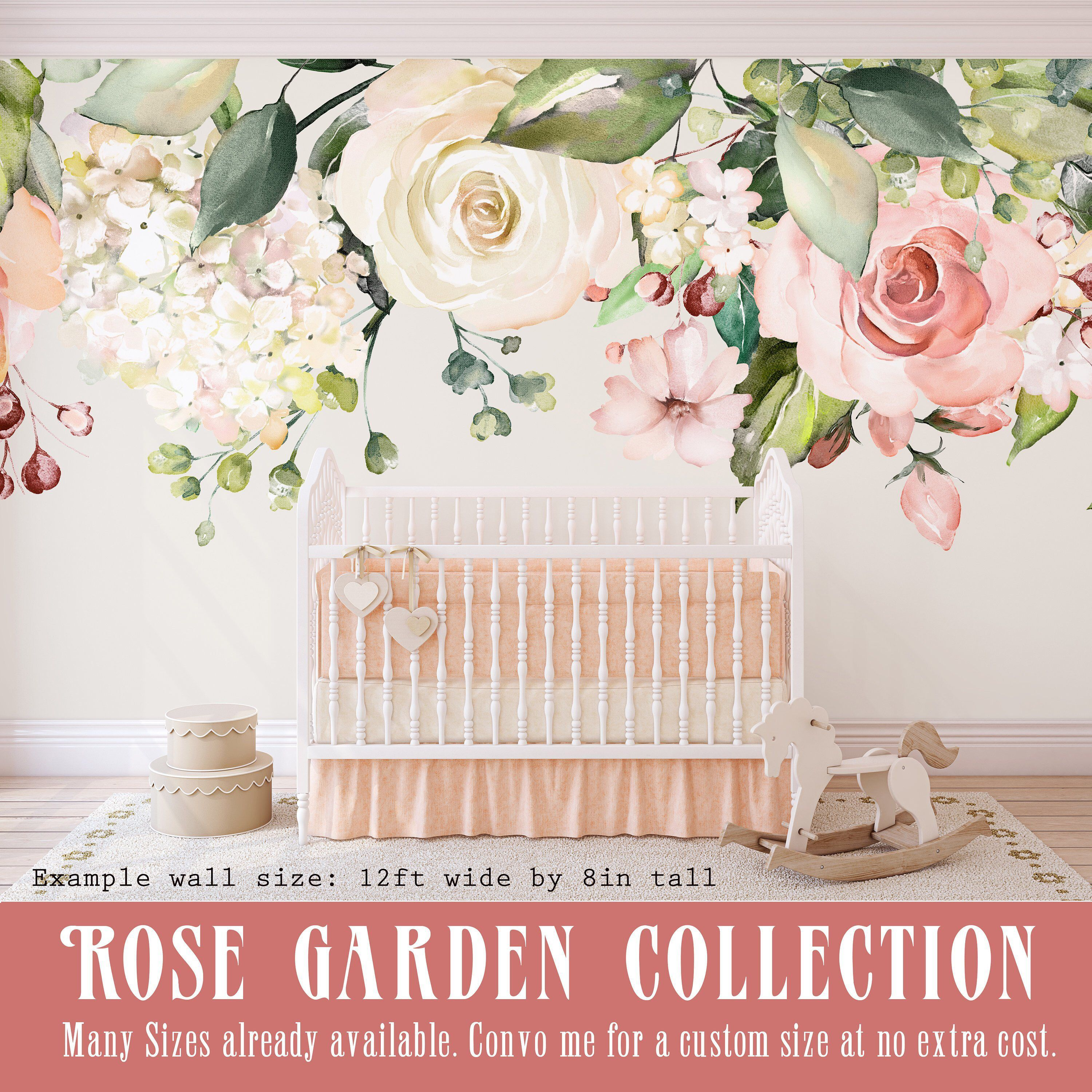 Rose Garden Floral Wall Decal Pink White Peonies Blooms Wall
