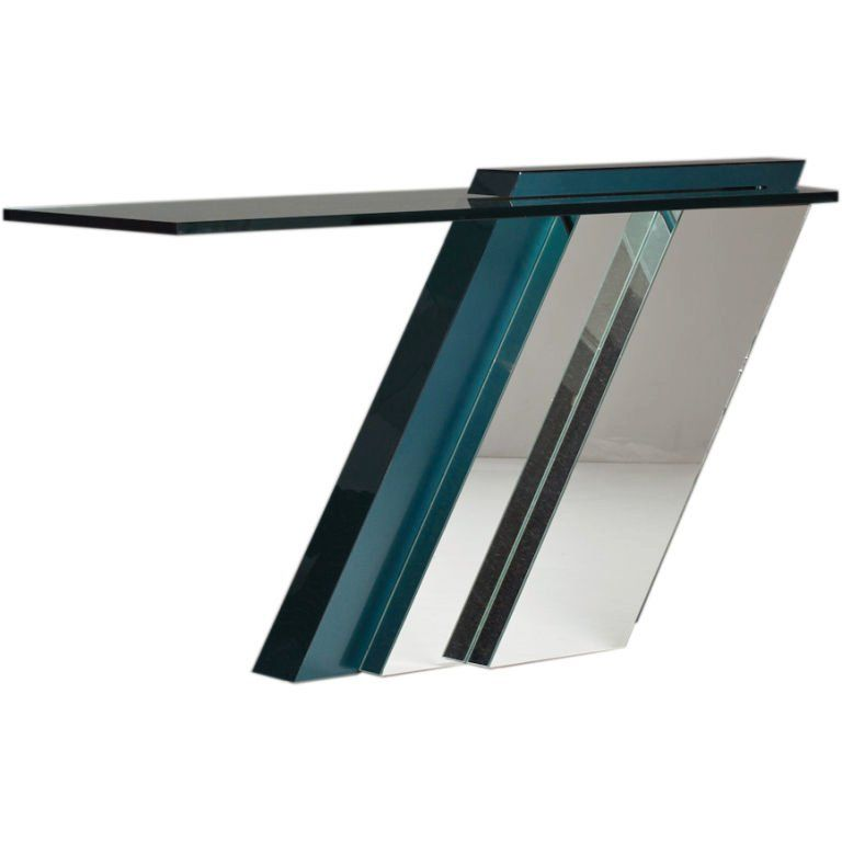 Cantilevered Console Table with Mirrored Base, 1980s