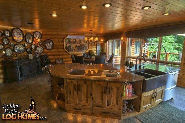 Log+home+kitchens | Golden Eagle Log Homes: Log Home / Cabin Pictures