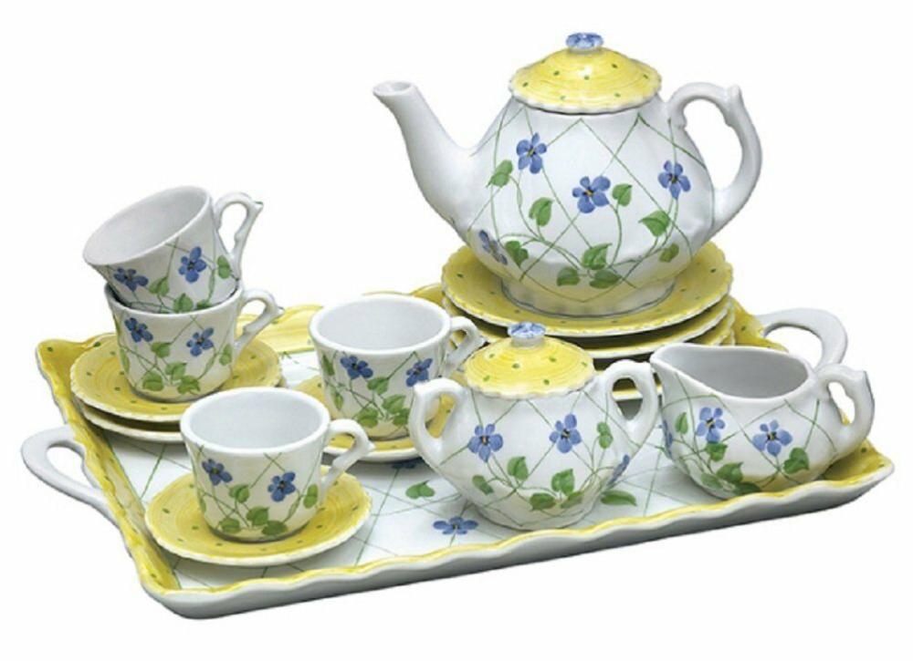 Andrea By Sadek Children S Tea Set With Tray Yellow Polka Dot Periwinkle Ebay Kids Tea Set Childrens Tea Sets Girls Tea Set