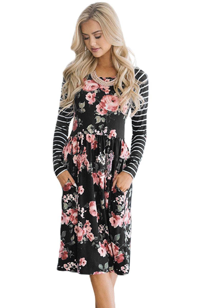Black floral side stripe boho pocket long sleeve dress