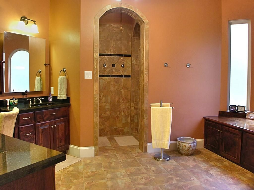 walk in showers no doors with tile for wall and tile for bathroom flooring plus wooden