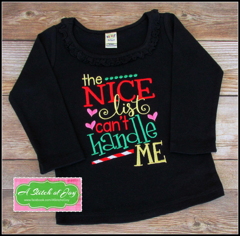 girls christmas shirt toddler christmas shirt baby christmas bodysuit the nice list can - Girls Christmas Shirts