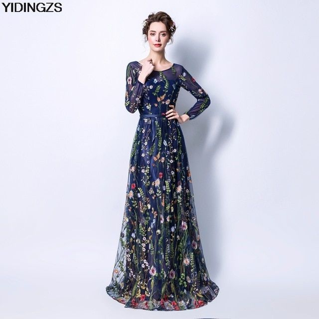 YIDINGZS Women s Formal Dress 8 Colors Flower Embroidery 3 4 Sleeves Prom  Party Dresses Review abd4e082f738