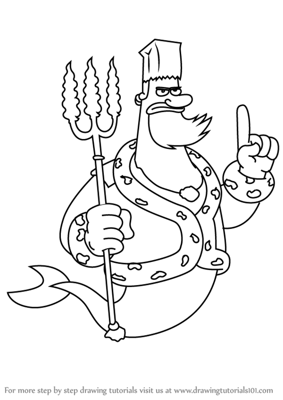 Learn How To Draw King Neptune From Spongebob Squarepants Spongebob Squarepants Step By Ste Spongebob Drawings Easy Cartoon Drawings Disney Character Drawing