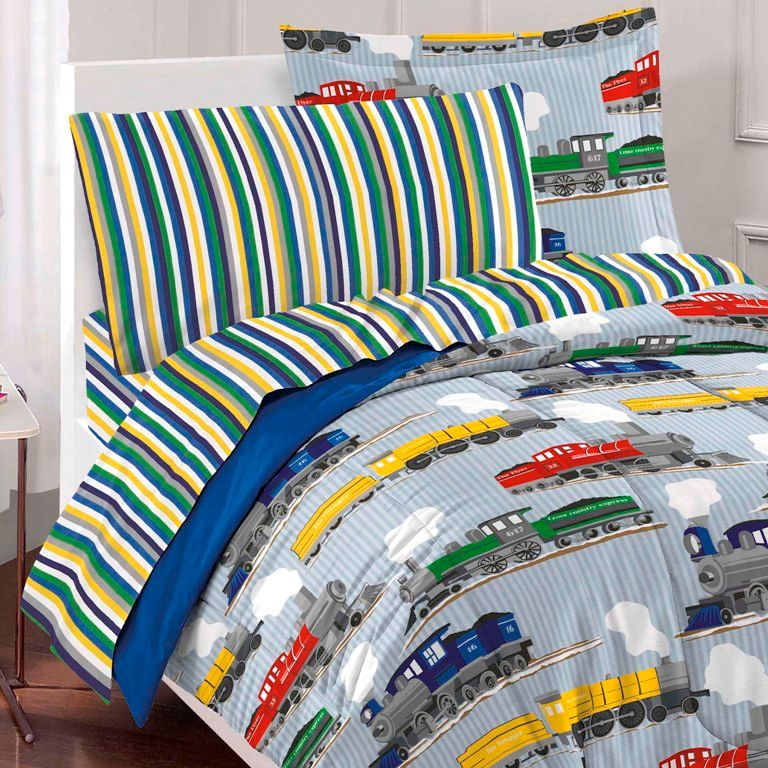 toddler rooms blue train bedding for boys twin or full size comforter set bed in a bag ensemble
