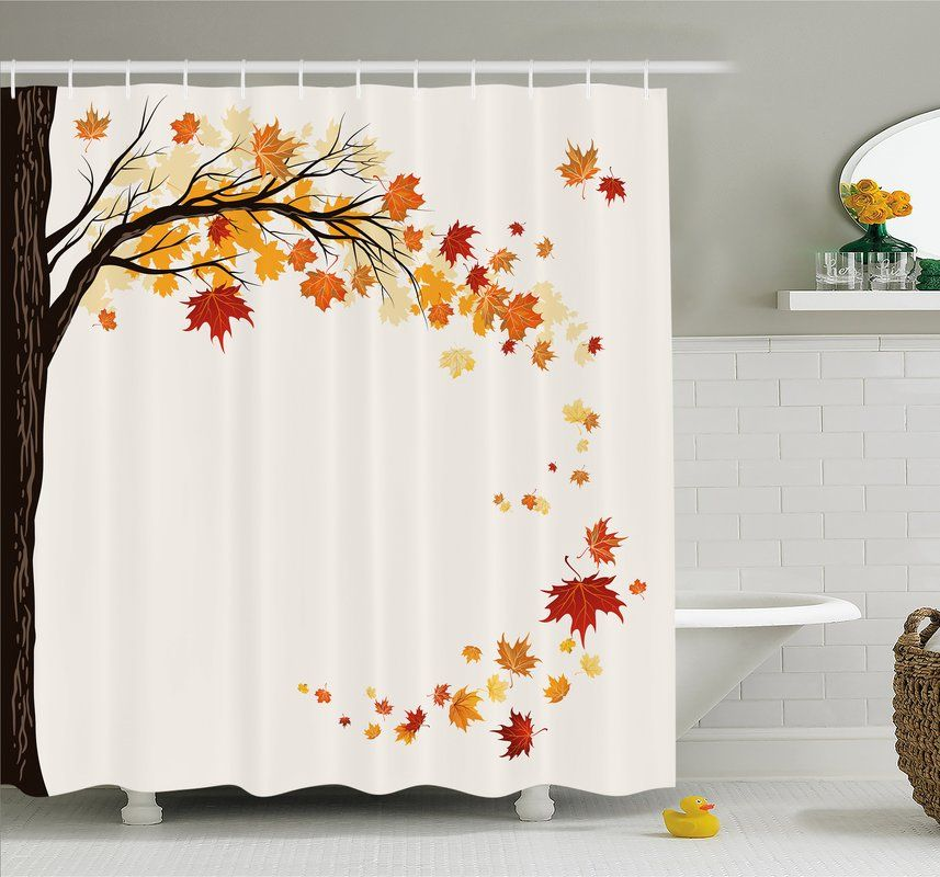 Fall Leaf Group Motion In Mother Earth Transition From Summer To Winter Decor Shower Curtain Set Fall Bathroom Decor Fall Bathroom Fall Shower Curtain