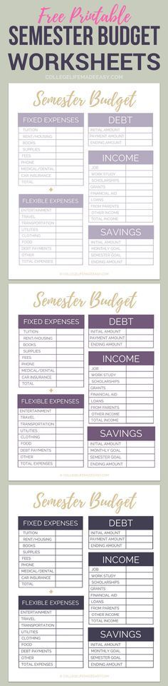 Free Printable College Semester Budget Worksheets Organize Your - sample monthly budget template