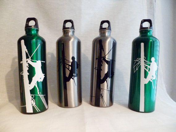 Lineman Decal Aluminum Water Bottle by VintageLover818 on Etsy. , via Etsy.