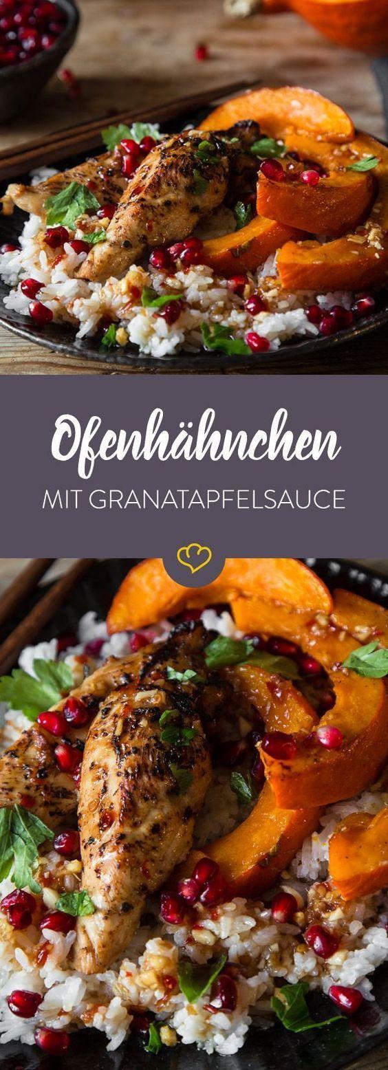 Glasiertes Ofenhähnchen mit Kürbis und Granatapfelsauce