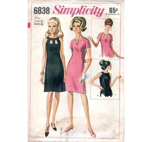 Simplicity 6838 - Vintage Schnittmuster - 1966 Schnittmuster Kleid ...