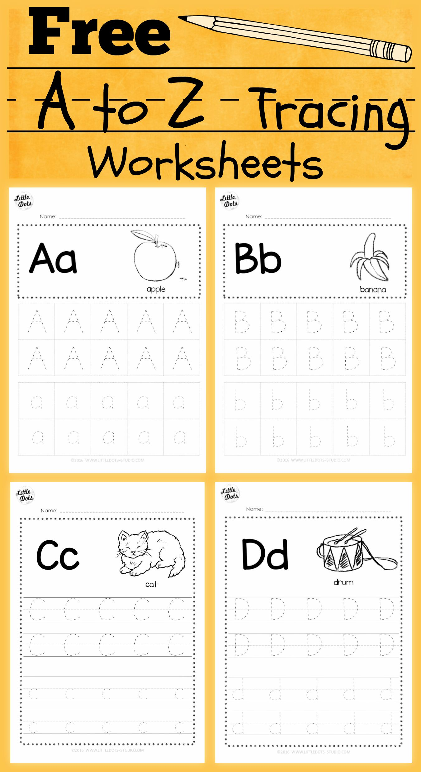 Download free alphabet tracing worksheets for letter a to z suitable ...