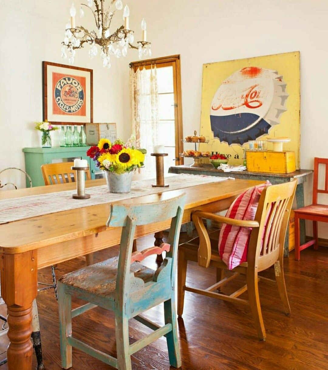 Colorful Vintage Decor Dining Room With Mix Matched Chairs