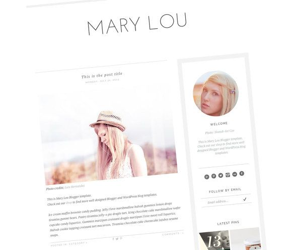 Pin By Carly Nemrow On Downloadable Things Blogger Design Blog Template Responsive Blog Design
