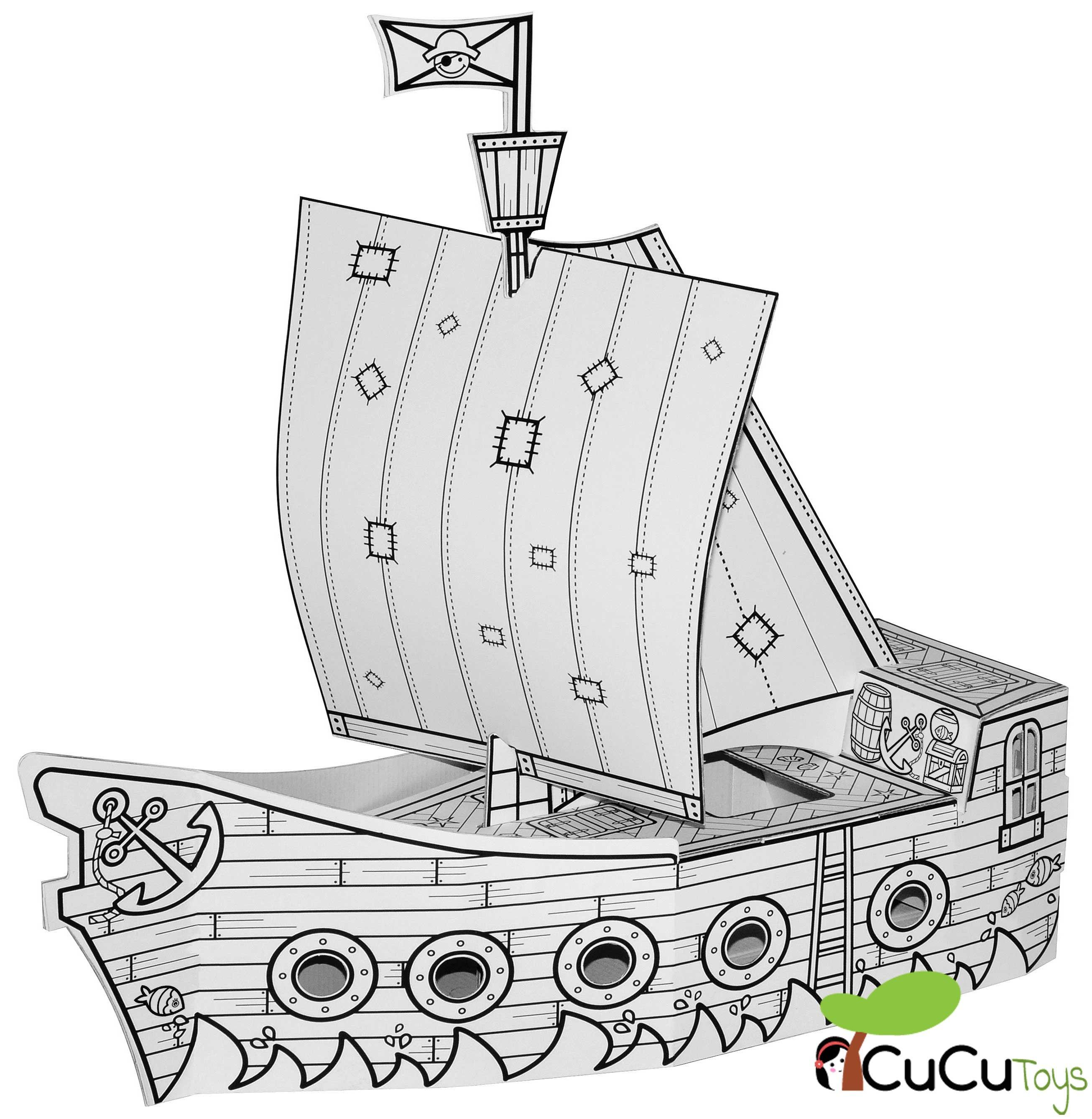 Villa Cartón - Barco Pirata, juguete de cartón reciclado   Barco ...