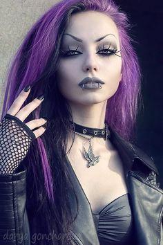 Darya Goncharova #face #hand #purple #hair #makeup #dark