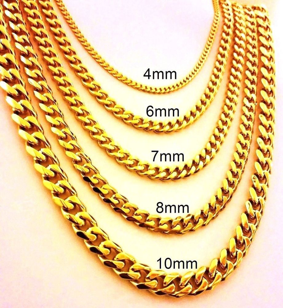 Bundle offer 18k gold plated amp white gold plated necklace 2 ring - 18 30 Mens Stainless Steel 4mm 10mm 24k Gold Plated Cuban Link Chain Necklace