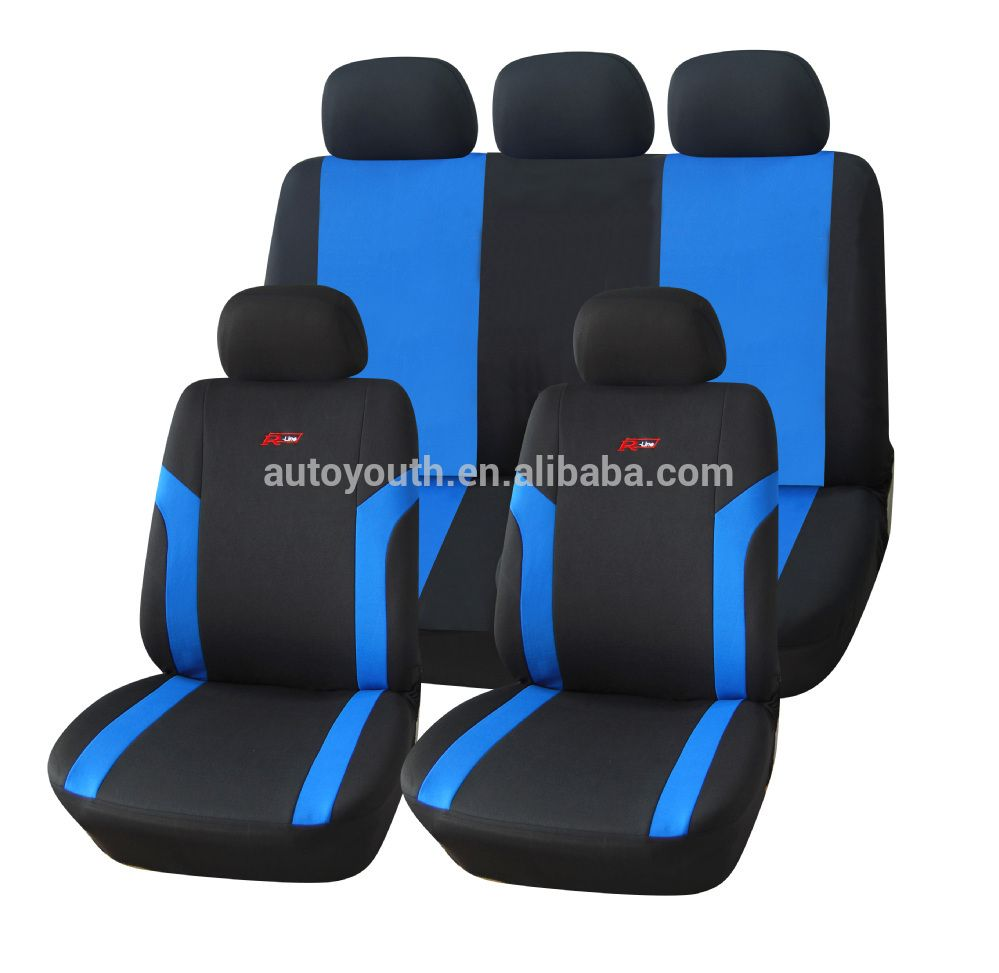 Black Blue Leather Car Seat Covers For Skoda Fabia Saloon 2001-2005