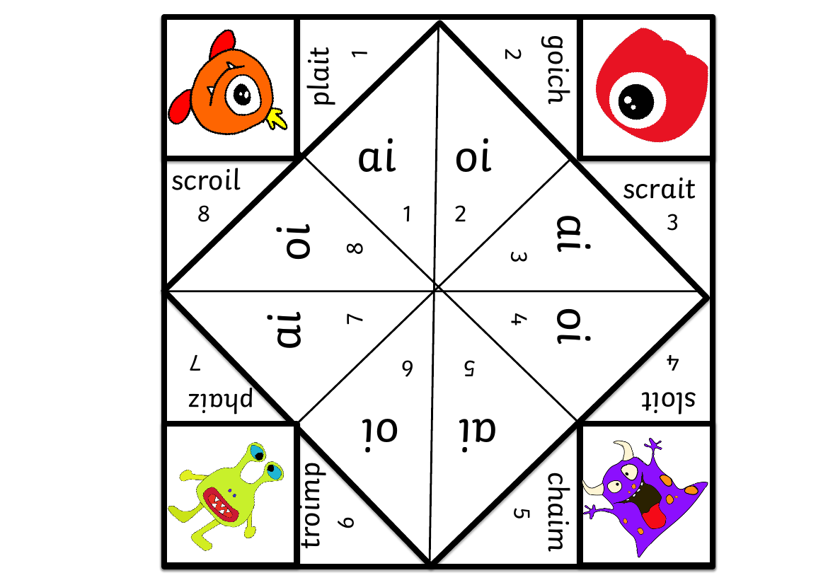 Phonic Screen Year 1 Paper Fortune Telling Style Game