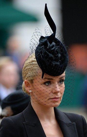 British opera singer Katherine Jenkins wearing a Philip Treacy hat at Baroness Thatcher funeral.