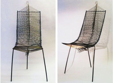 Chair Made from 47 Hangers by Vanessa Marie Robinson