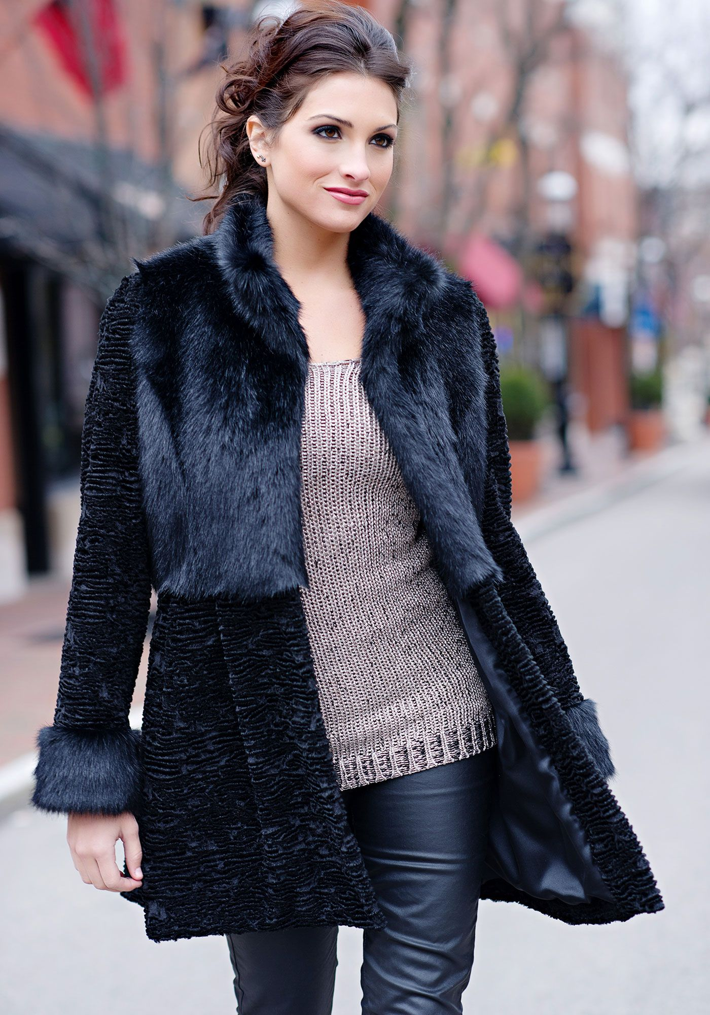 Black Fox & Persian Lamb Faux Fur Coat | Fabulous-Furs | My Style ...