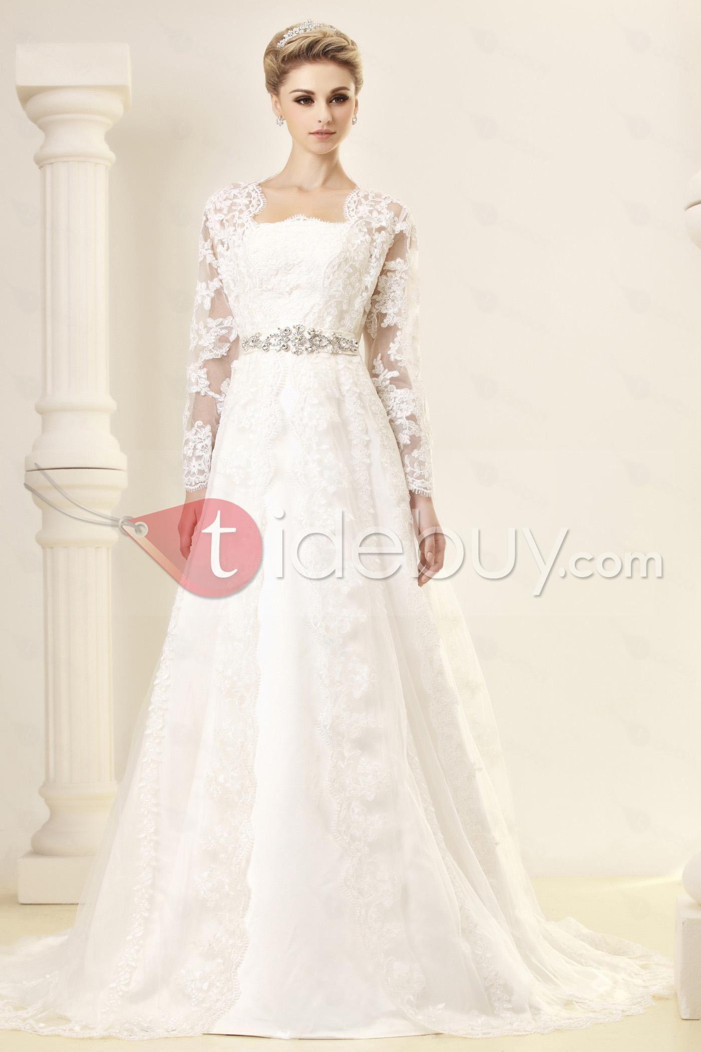 Gorgeous A-Line/Princess Strapless Chapel Embroidery Dasha's Wedding Dress