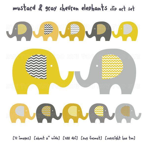 elephant clip art, baby elephant clipart, chevron mustard yellow ...
