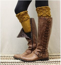 BC2 SPICE SCALLOP Curry cozy knit boot cuffs boot cuffs-knit boot cuff- boot…