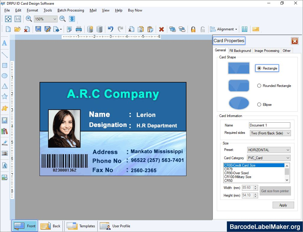 Photo Id Card Maker Free Software Demo Download Create With Faculty Id Card Template Best Business Templates Id Card Template Card Template Card Maker