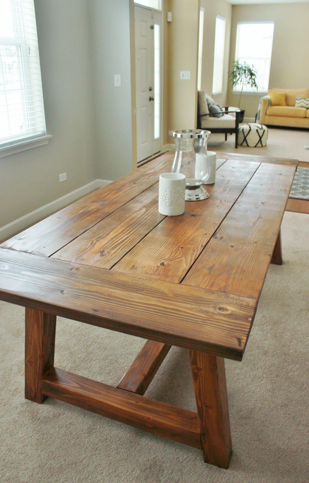 DIY farmhouse table inspired by Restoration Hardware. Created with easy-to-follow Ana White plans. #diyhomedecor