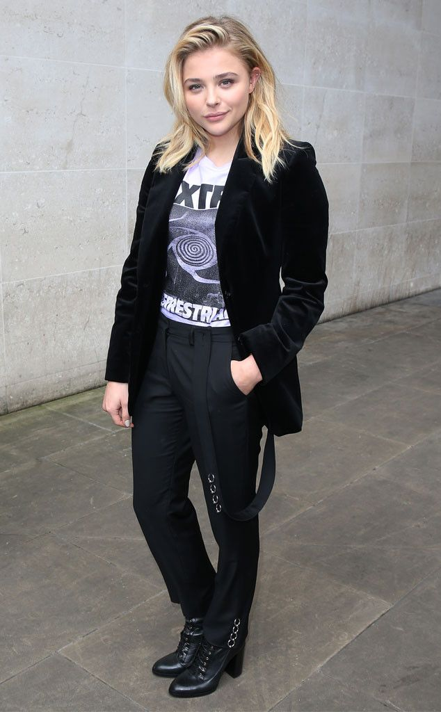 Chloe Grace Moretz from The Big Picture: Today's Hot Pics  The actress looks trendy in her ET top and velvet blazer during an appearance in London.