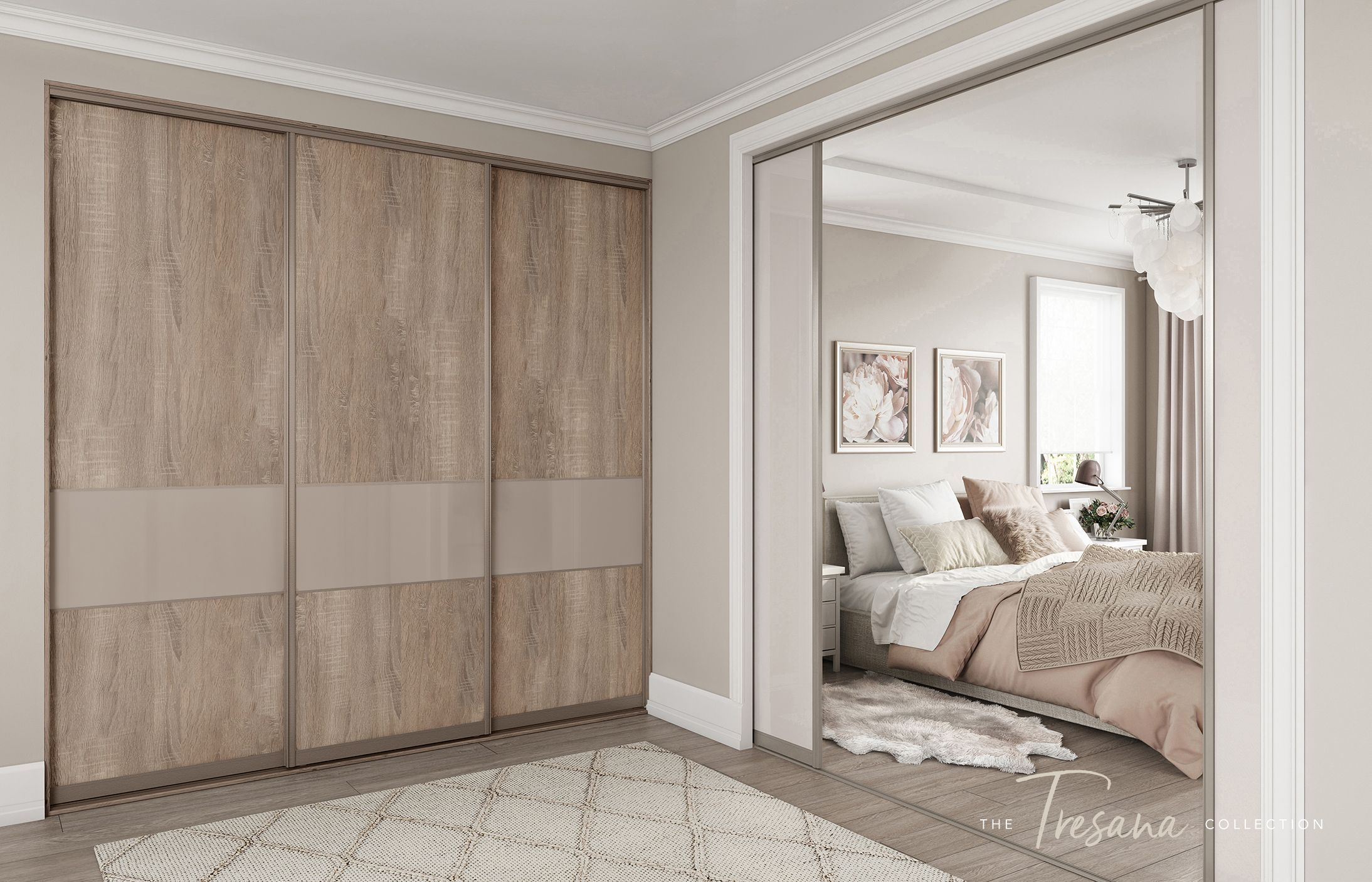 Truffle Bardolino Oak Sliding Wardrobe Doors With Stone Grey Glass Feature Panels And Napoli Stone Wardrobe Door Designs Wardrobe Doors Sliding Wardrobe Doors